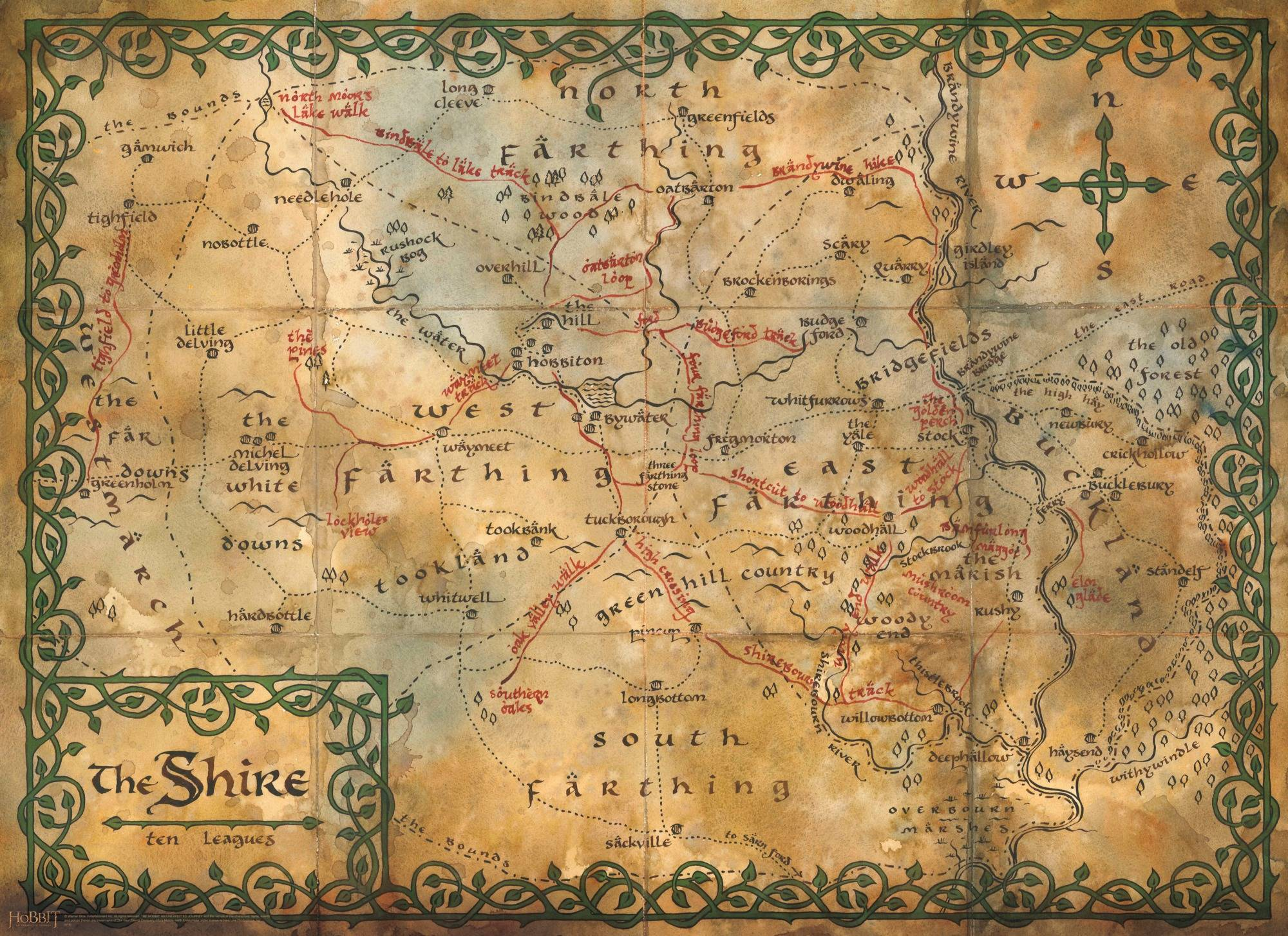 map of the shire middle earth wall mural the hobbit