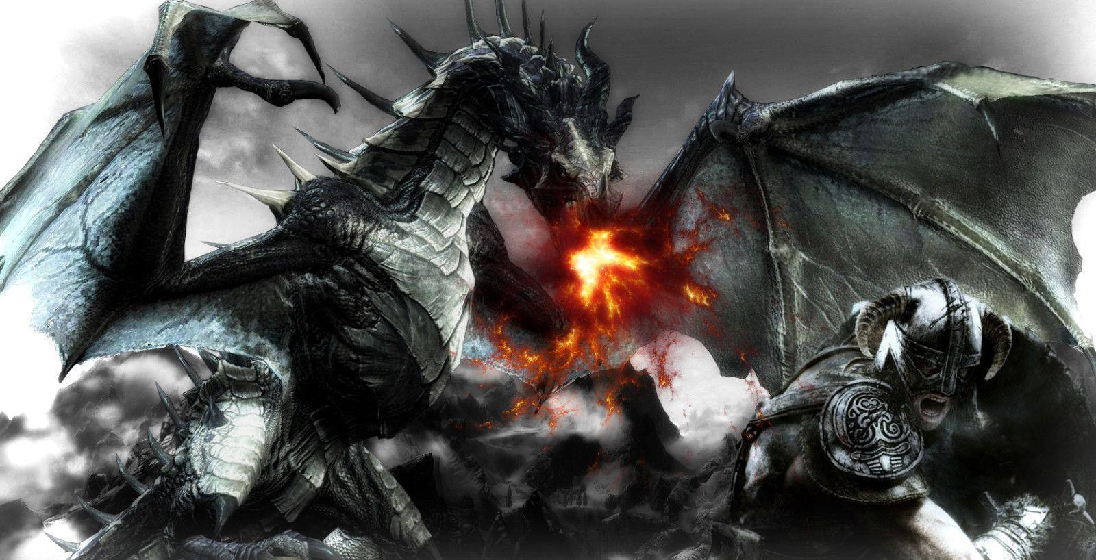 Skyrim wallpapers dragon fight by Nolan989890
