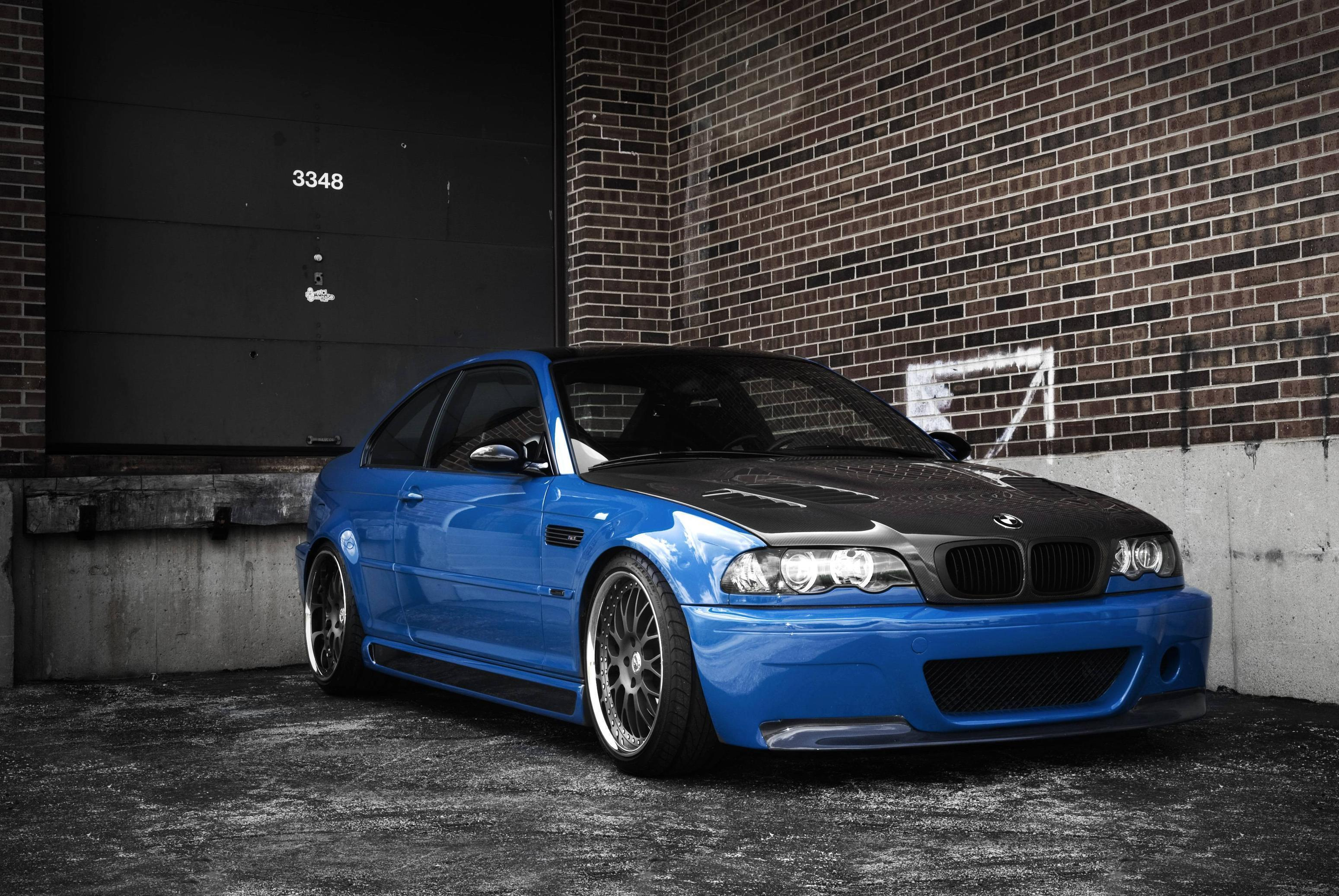 Wallpapers bmw, m3, e46, blue, bmw, blue, trees