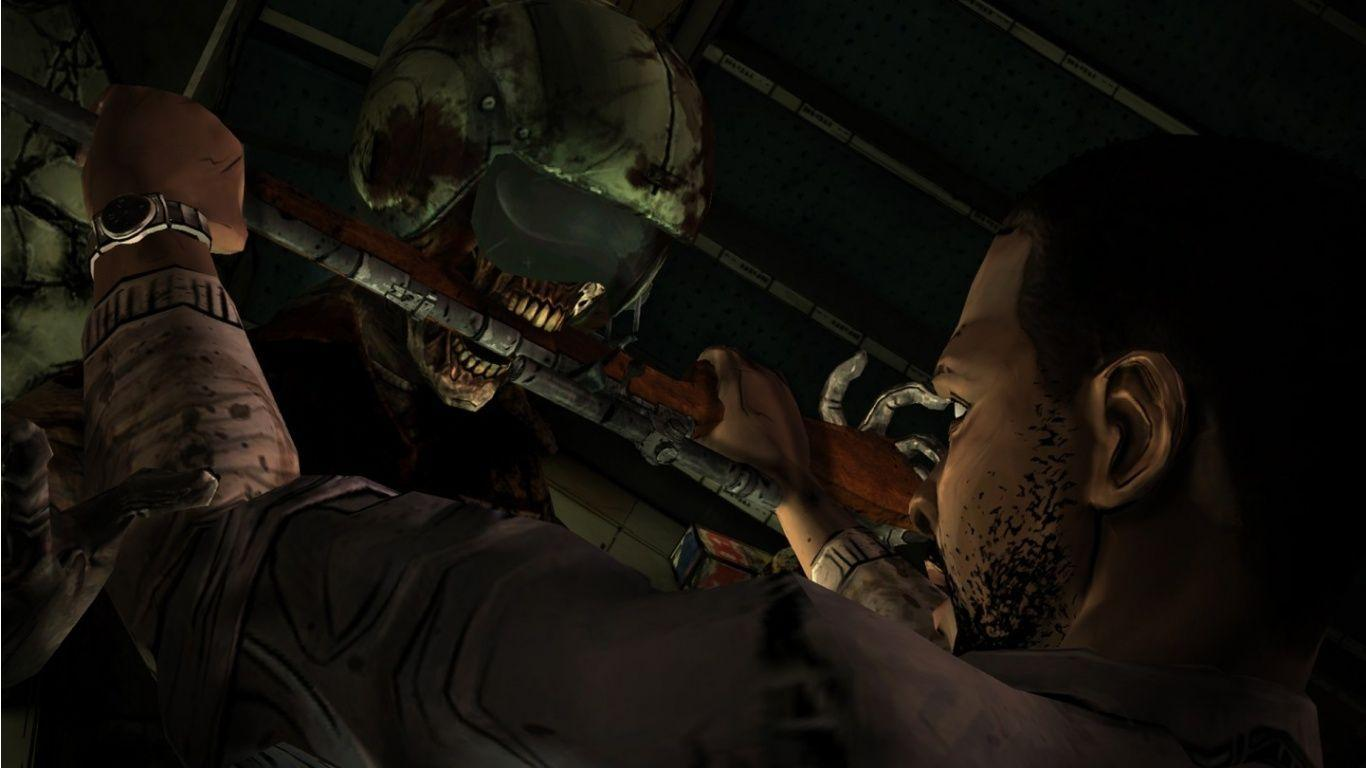 The Walking Dead game zombie fight wallpaper