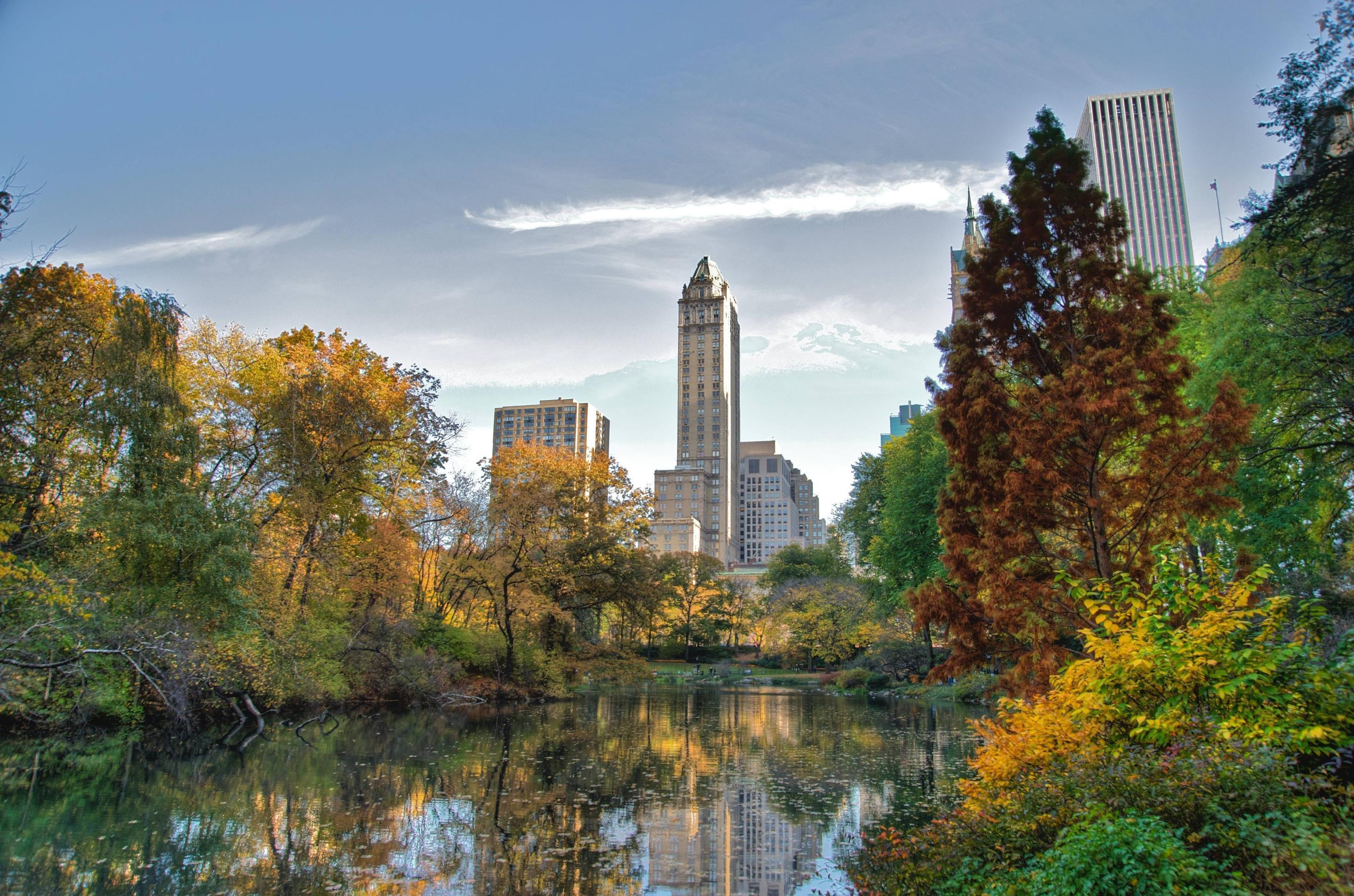 Download wallpapers Central Park, New York, lake, Skyscrapers free