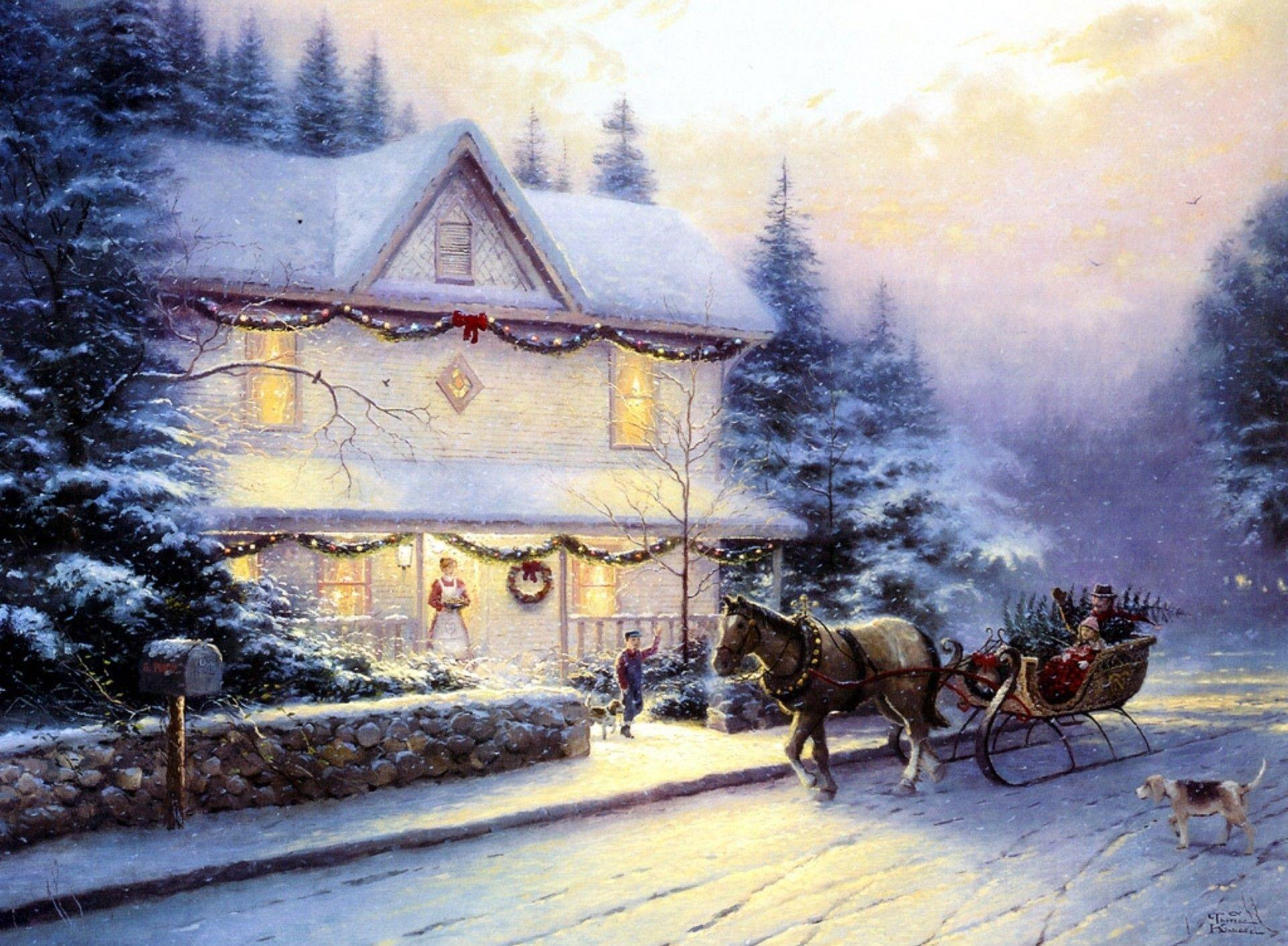 Wallpapers For > Thomas Kinkade Christmas Village Wallpapers