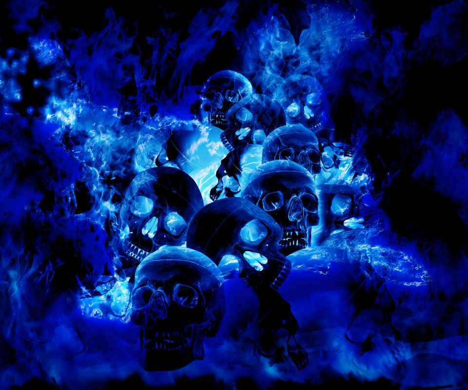 blue wallpaper skull - photo #14