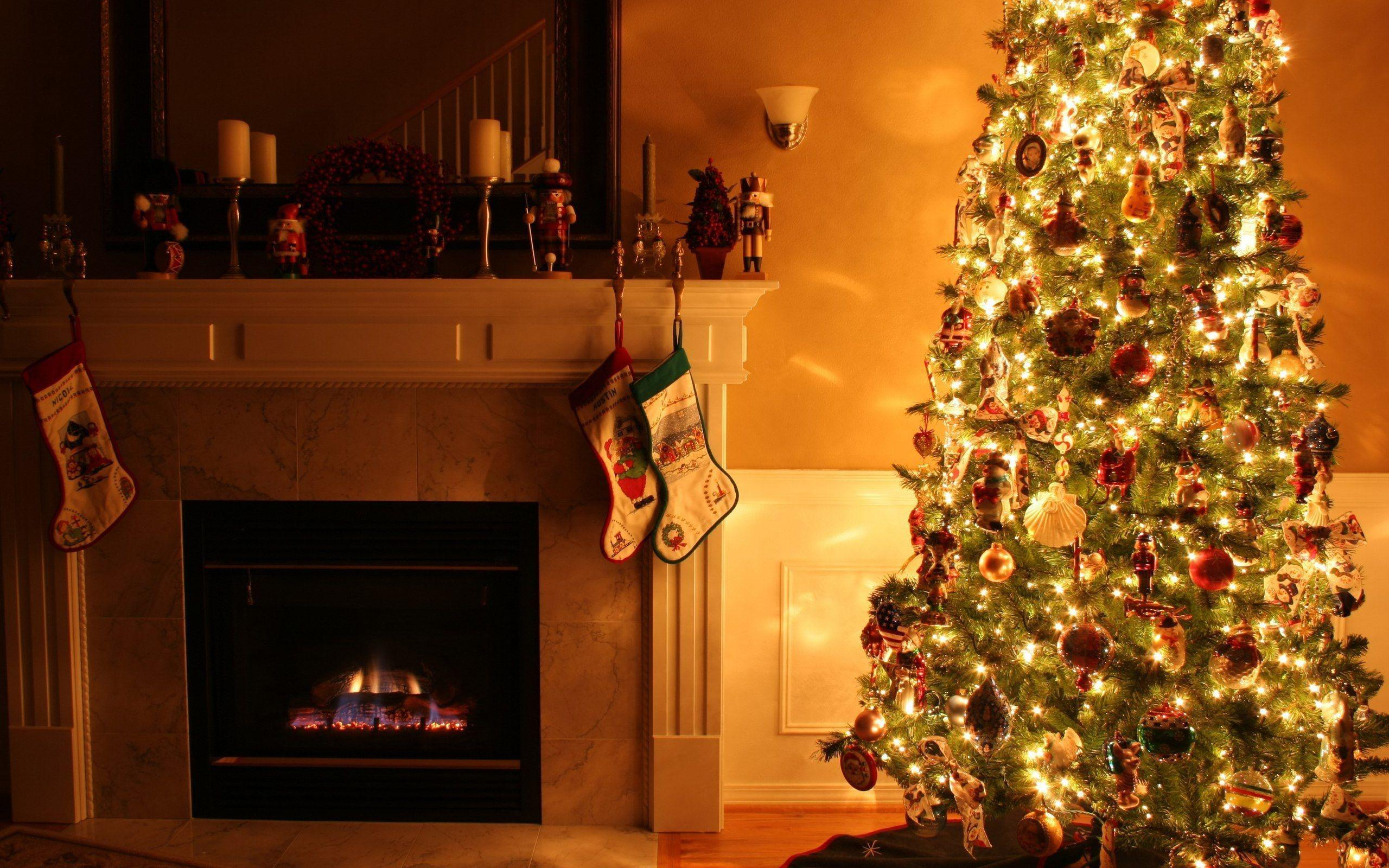 Burning Fireplace Decorated Christmas Tree HD Wallpapers