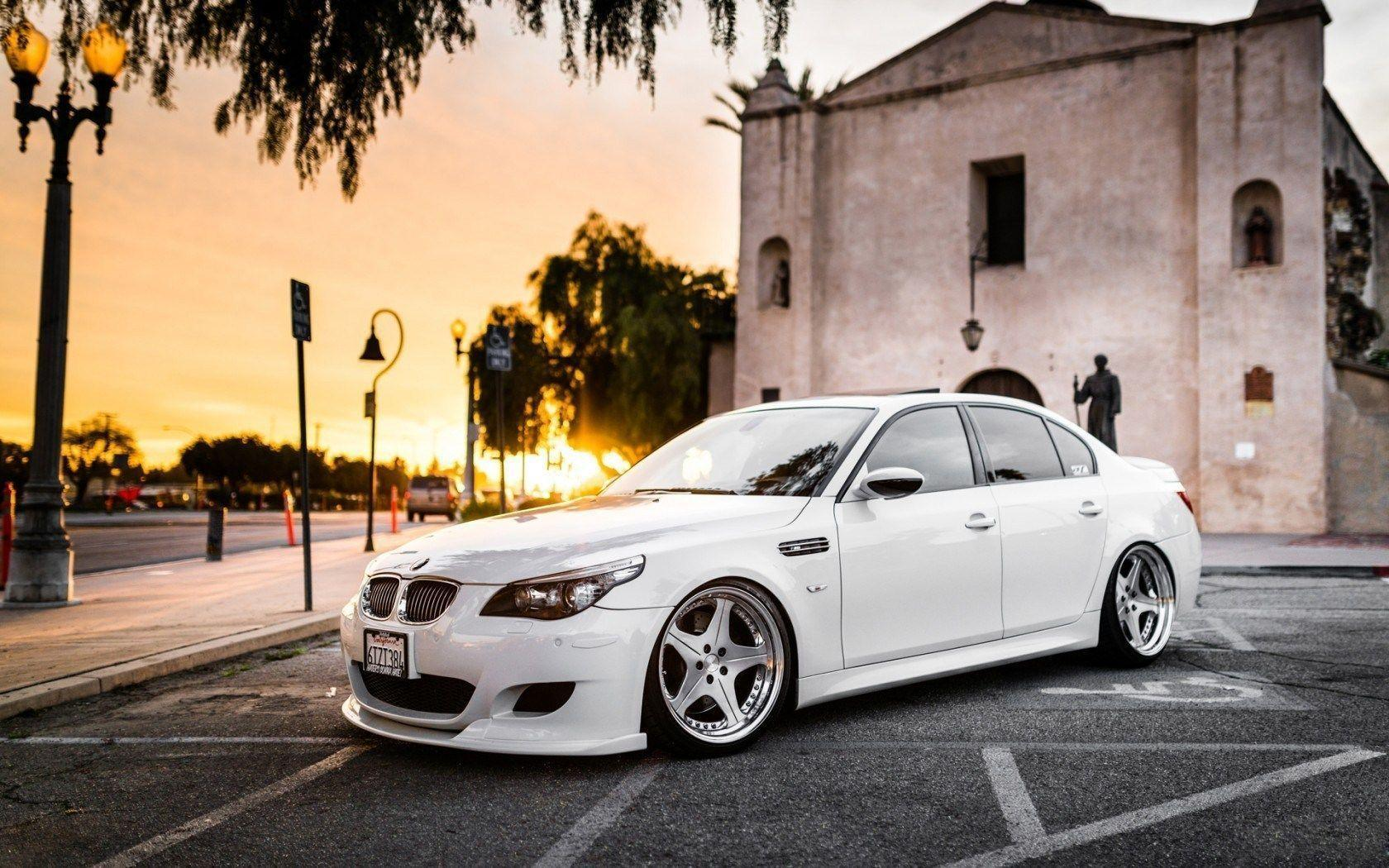 White BMW M5 Parked Outside Church City HD Wallpapers
