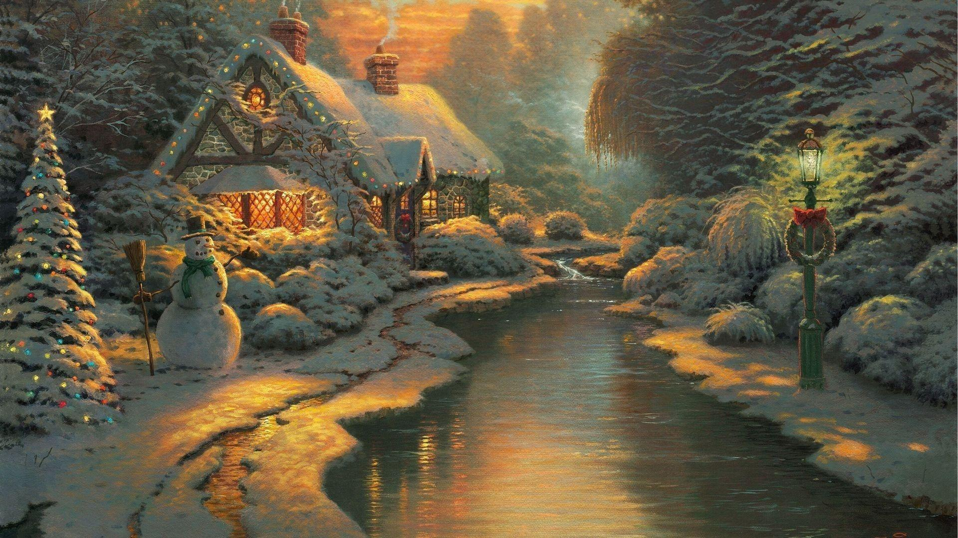 thomas kinkade christmas wallpapers computer