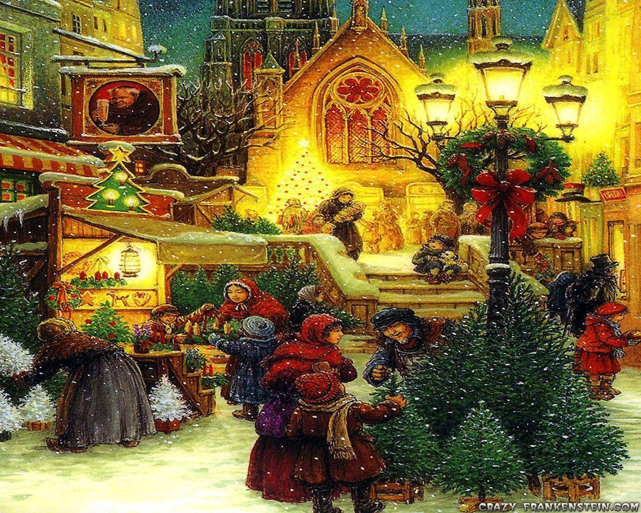 old fashioned christmas town wallpaper - photo #1