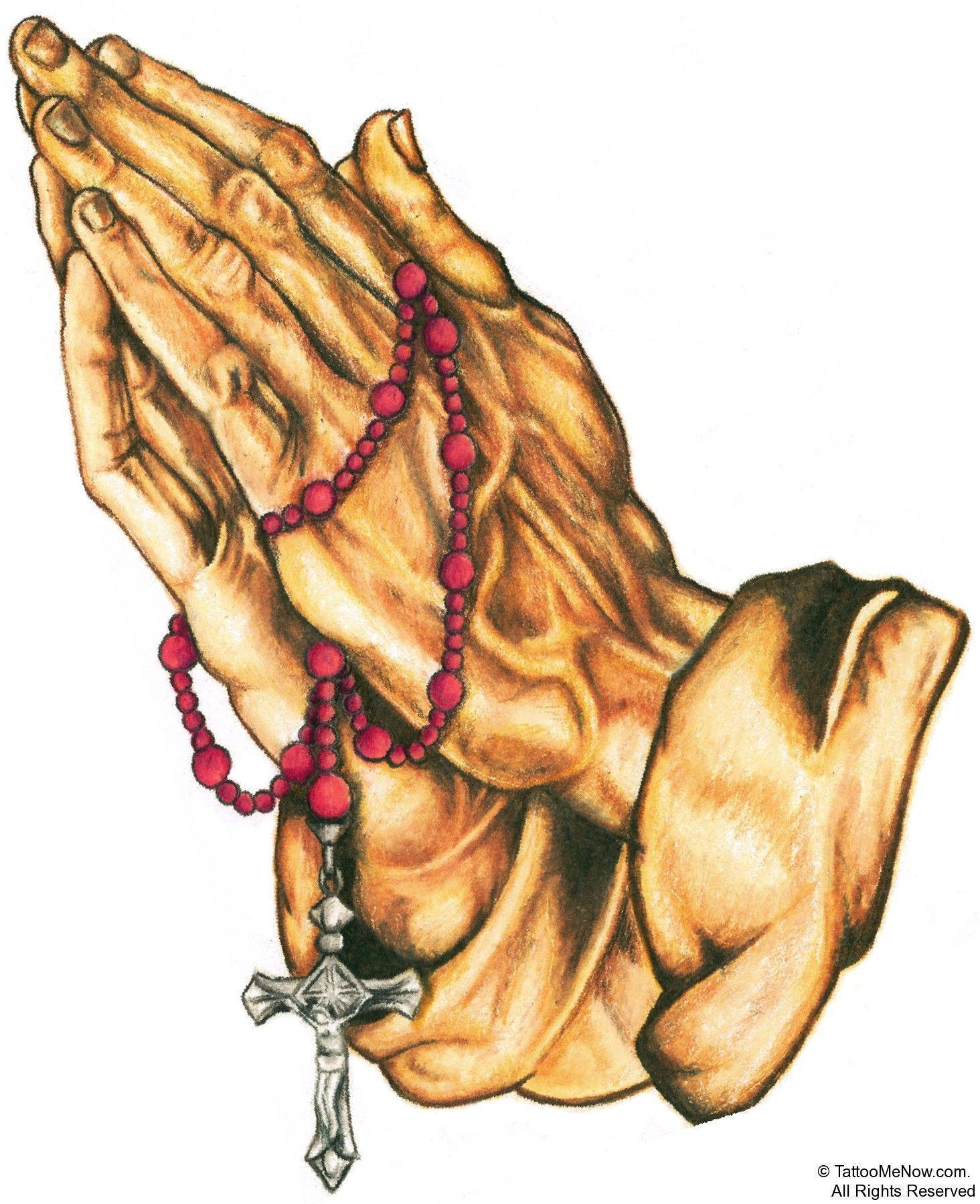 Praying Hands With Cross Wallpaper