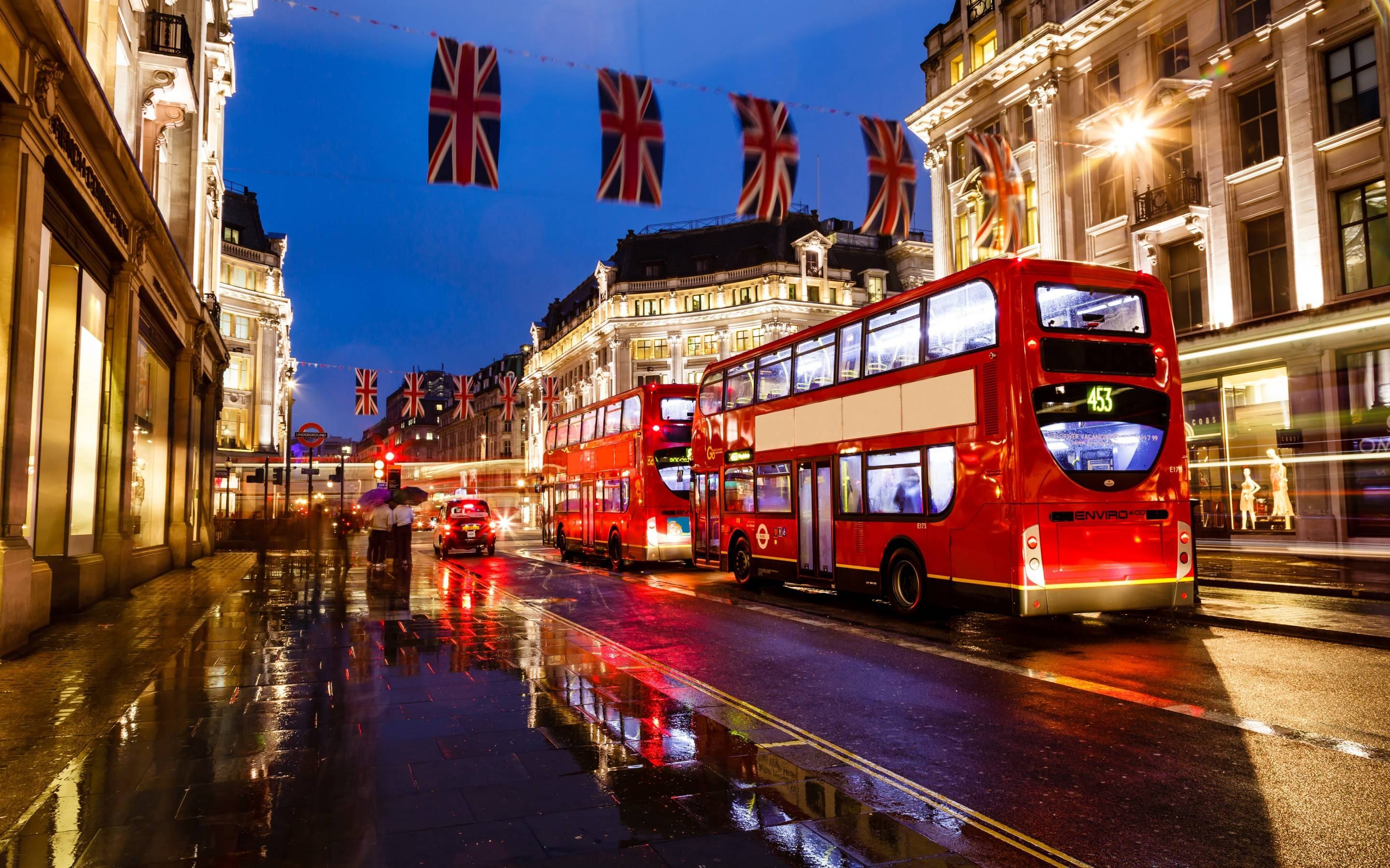 London england bus night street buildings lights wallpapers