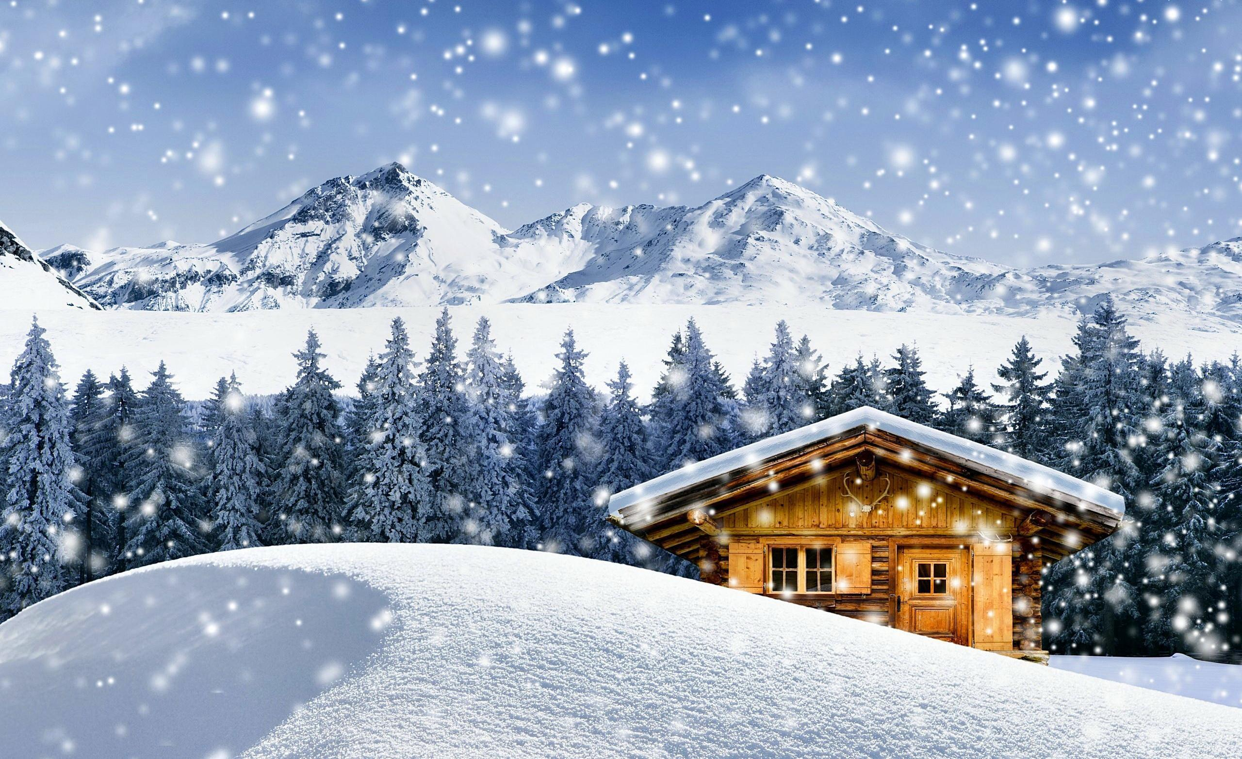 Winter cabin wallpapers wallpaper cave for Cottage in the mountains