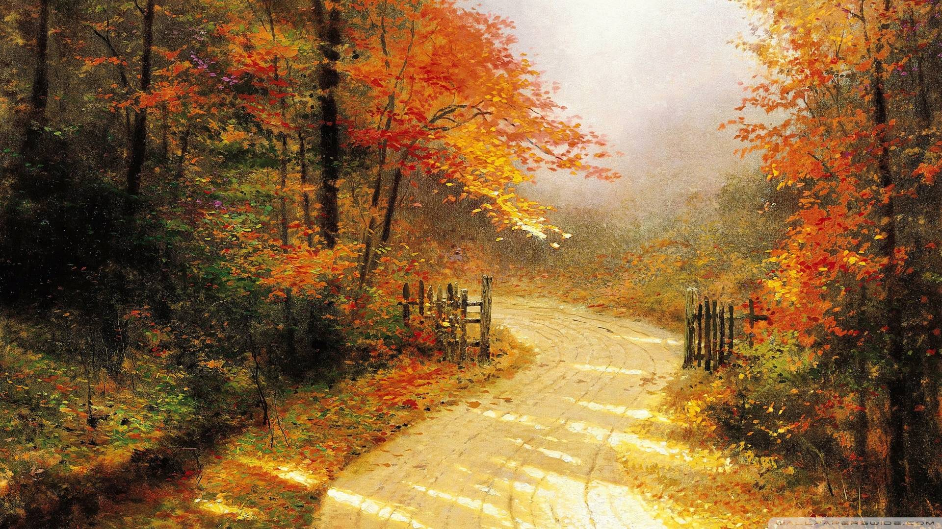 Download Autumn Lane By Thomas Kinkade Wallpaper 1920x1080 .