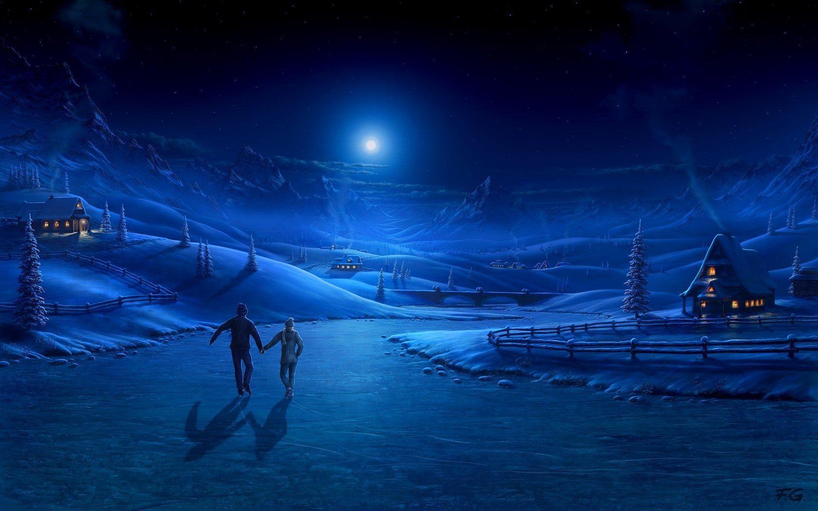 Wallpaper download night - Winter Night Wallpaper 1680x1050 Wallpaper Download