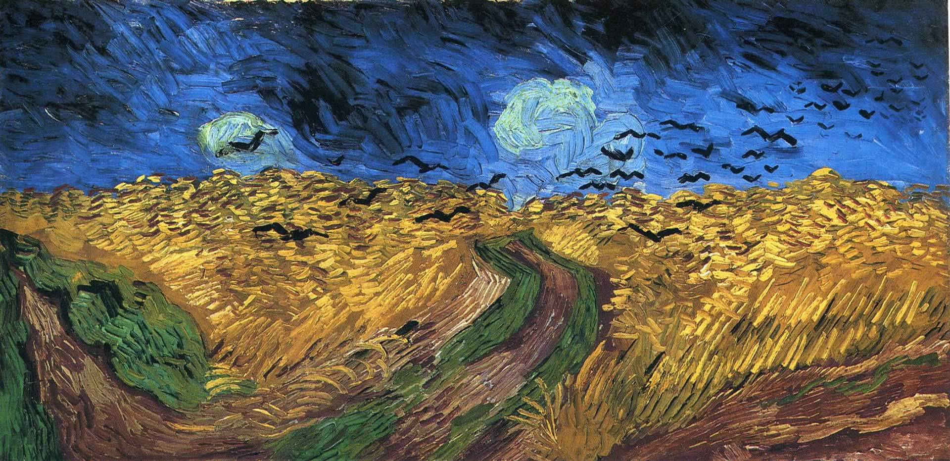 Wheatfield With Crows - Vincent Van Gogh Paintings Wallpaper Image