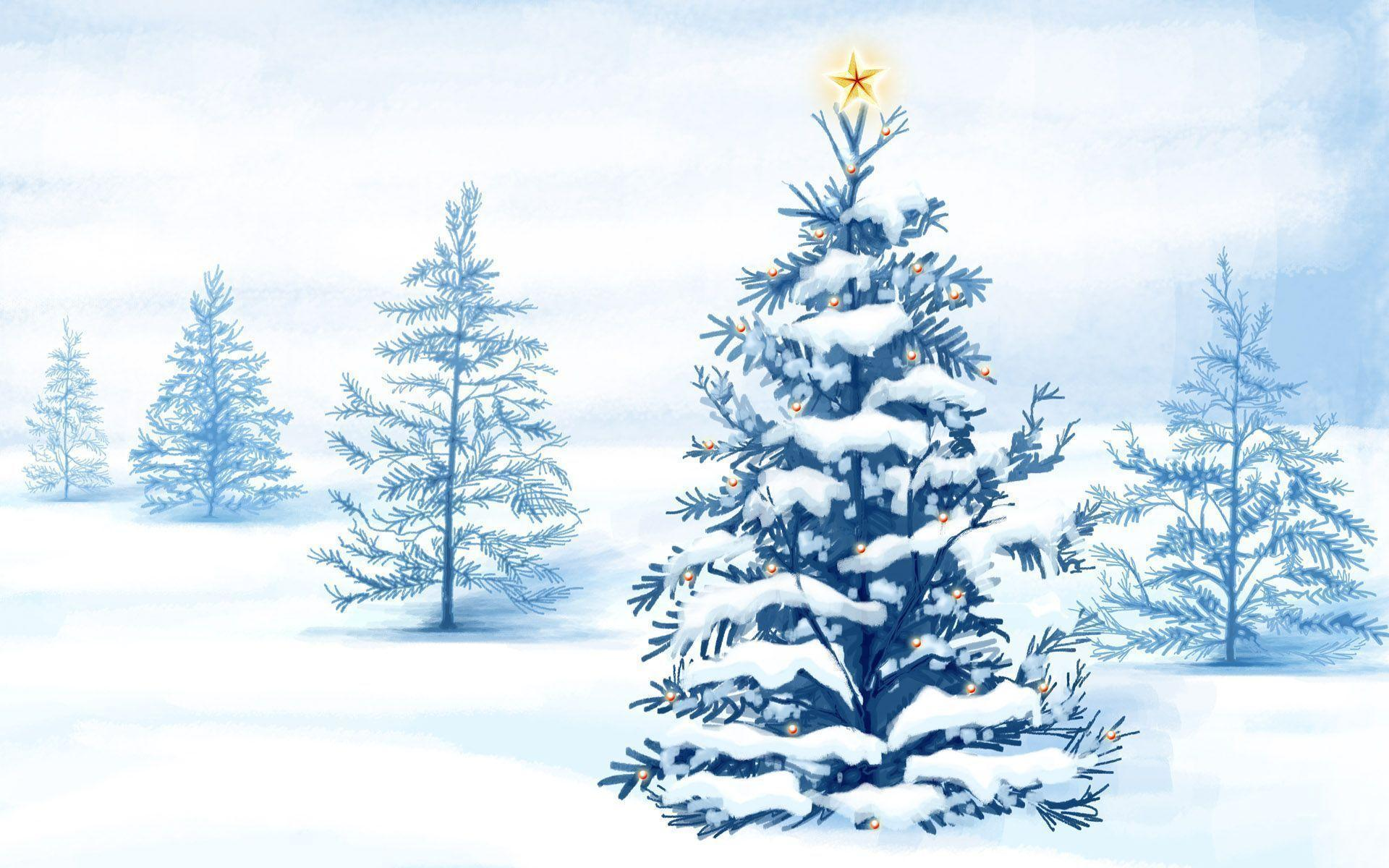Christmas Snow Trees WallPaper HD - IMASHON.COM