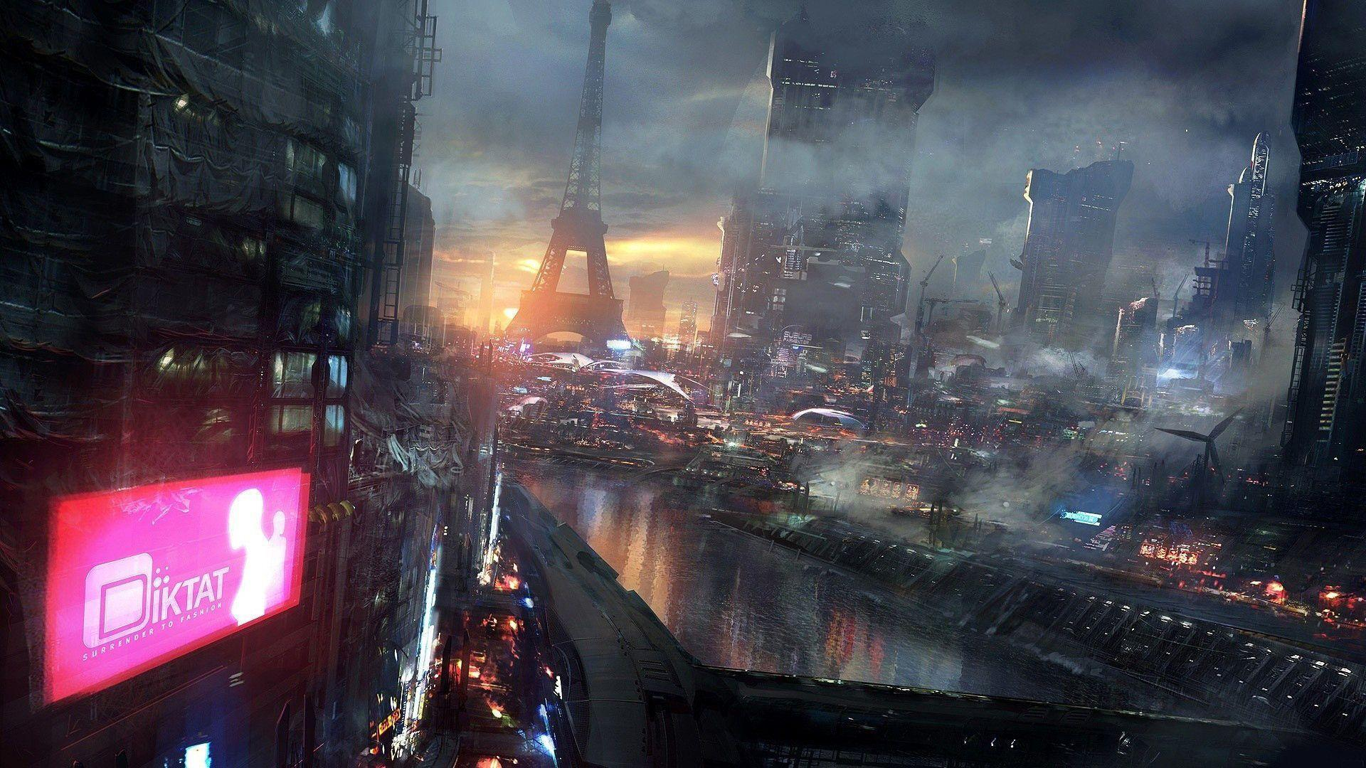 Future City Night Lights High Resolution Wallpaper HD