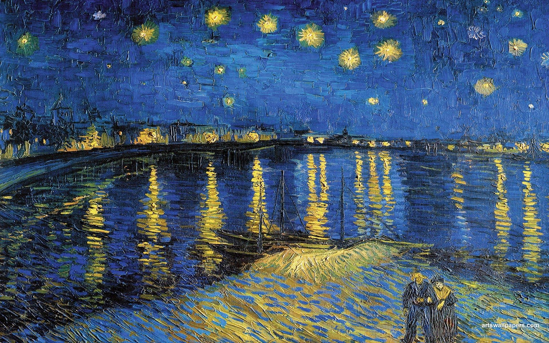 starry night over the rhone wallpaper vincent van gogh art