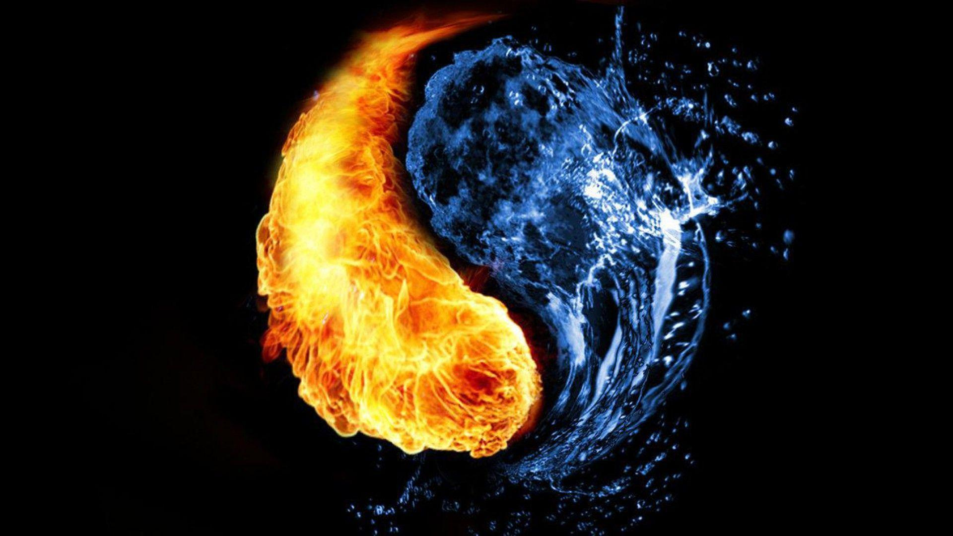 Cool Fire And Water Background Wallpaper HD