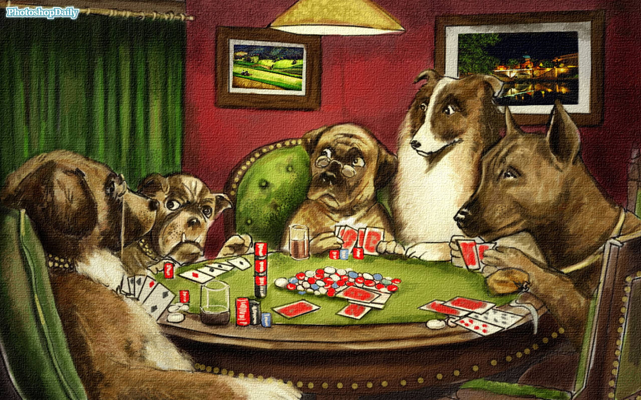 Famous Pictures Of Dogs Playing Poker