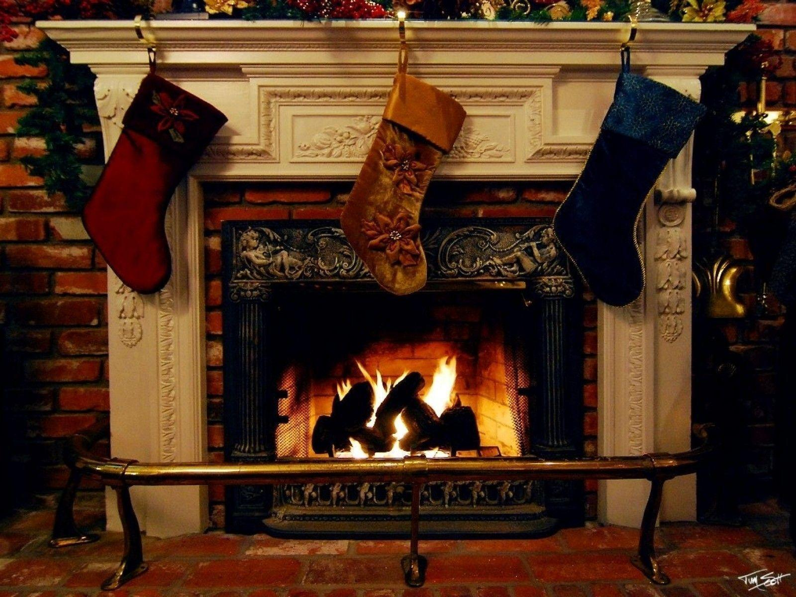 Image For > Christmas Fireplace Backgrounds