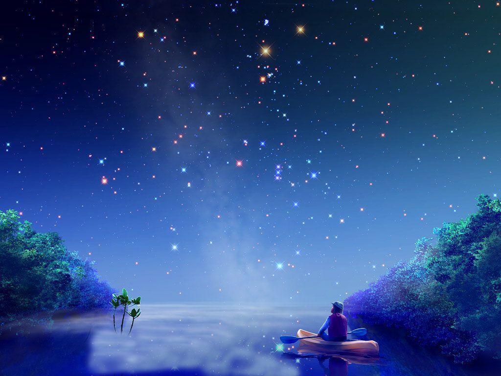 Wallpapers For > Blue Night Sky Stars Wallpaper