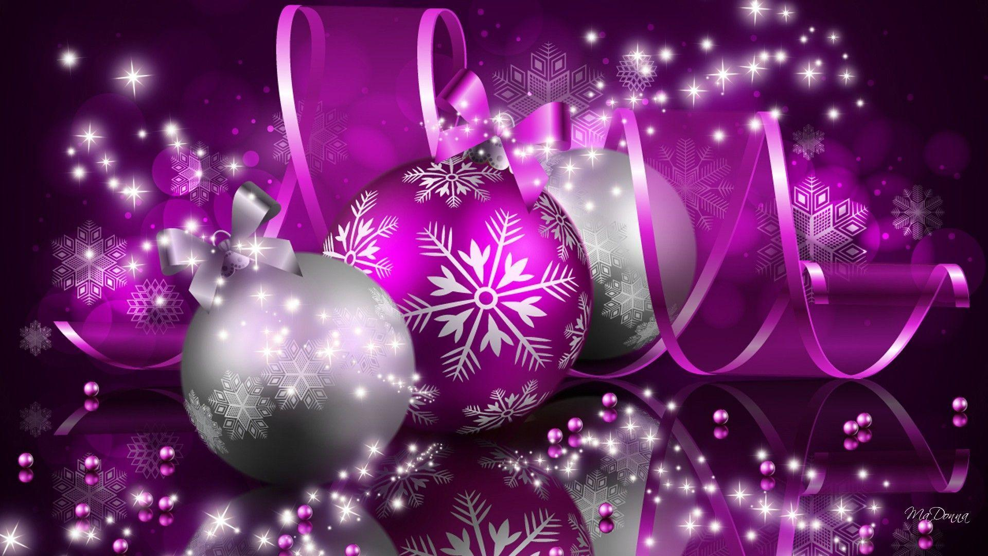 Wallpapers For > Purple Christmas Ornament Background