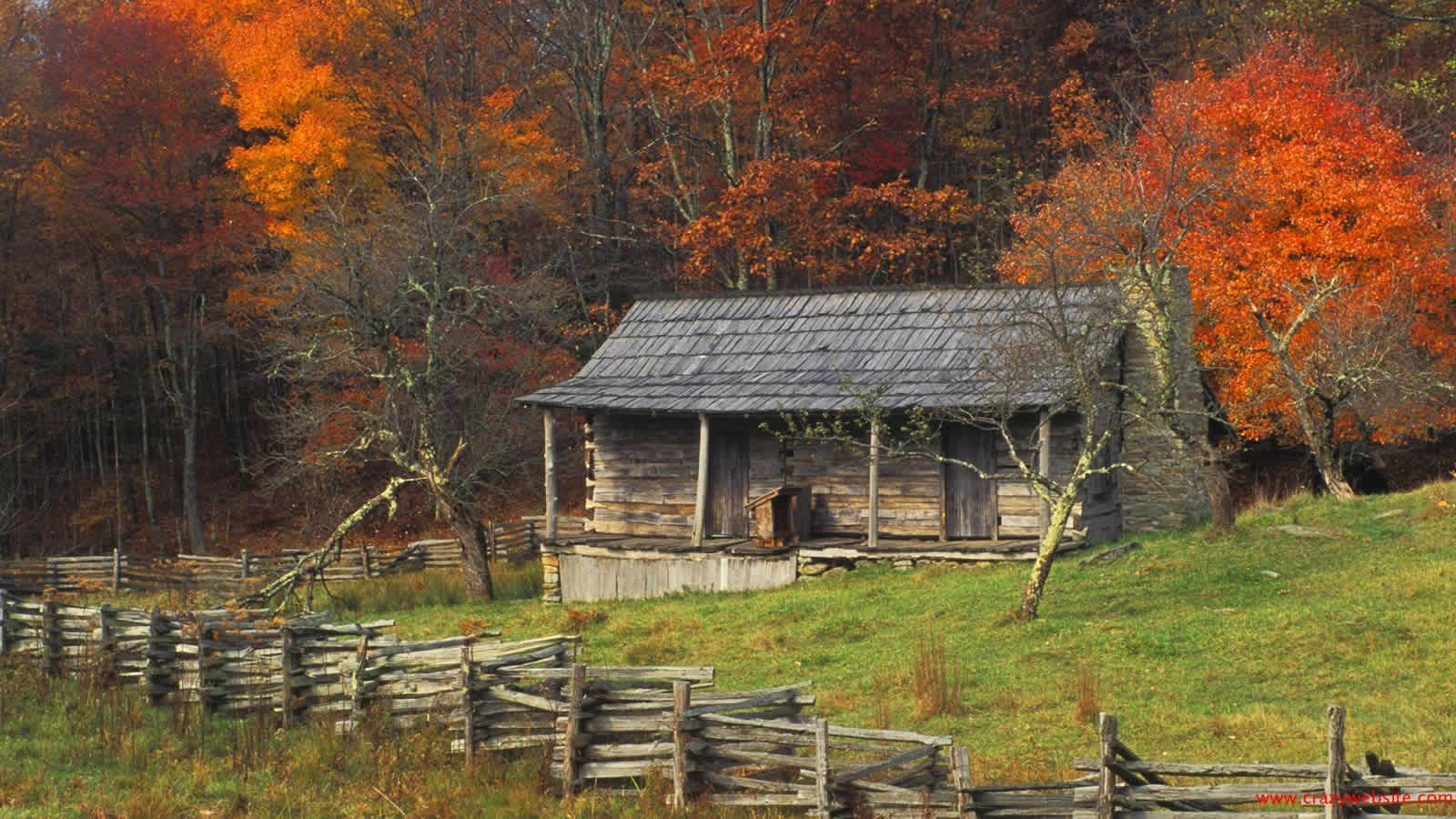 autumn cabin wallpaper desktop - photo #1