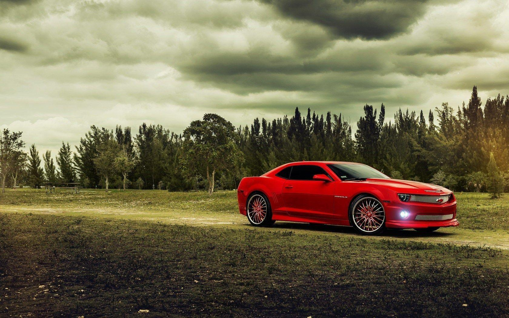 Chevrolet Camaro Red Muscle Car Forest HD Wallpaper - ZoomWalls