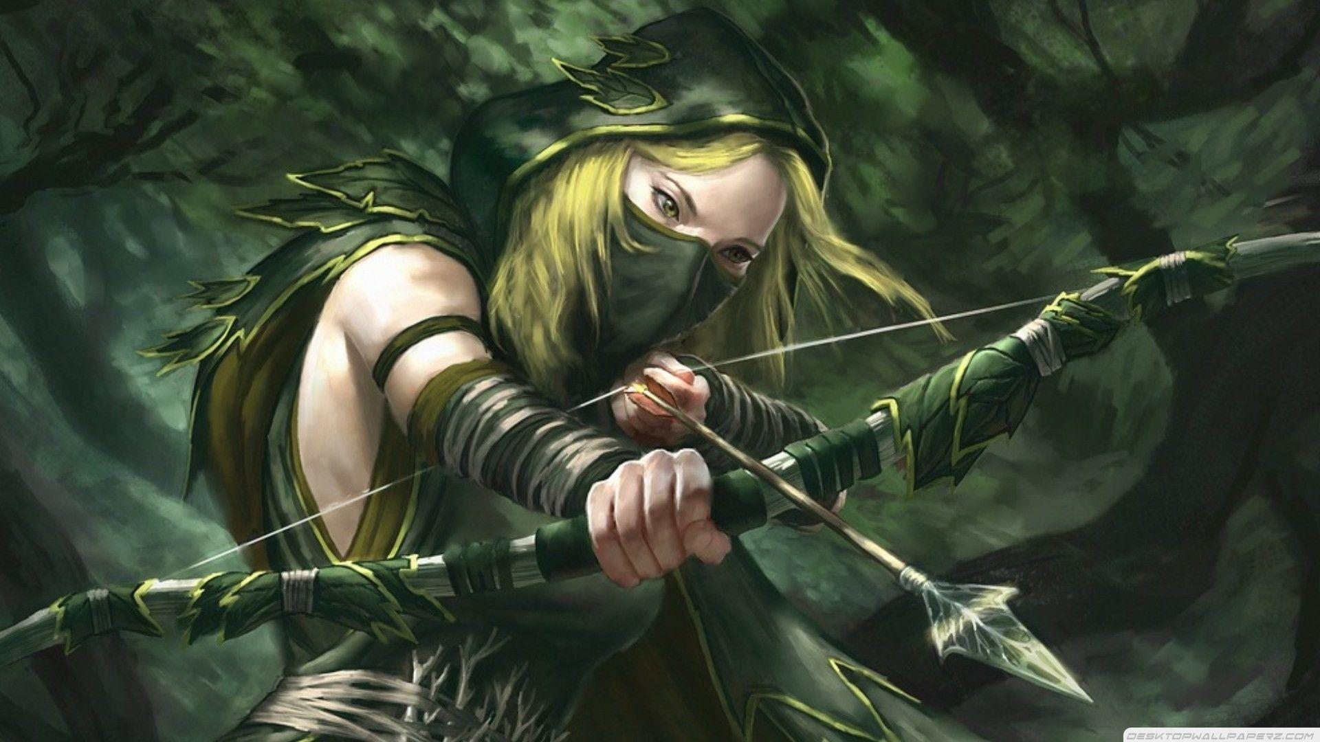 Fantasy Art Artwork Green Arrow Archer Girl Long