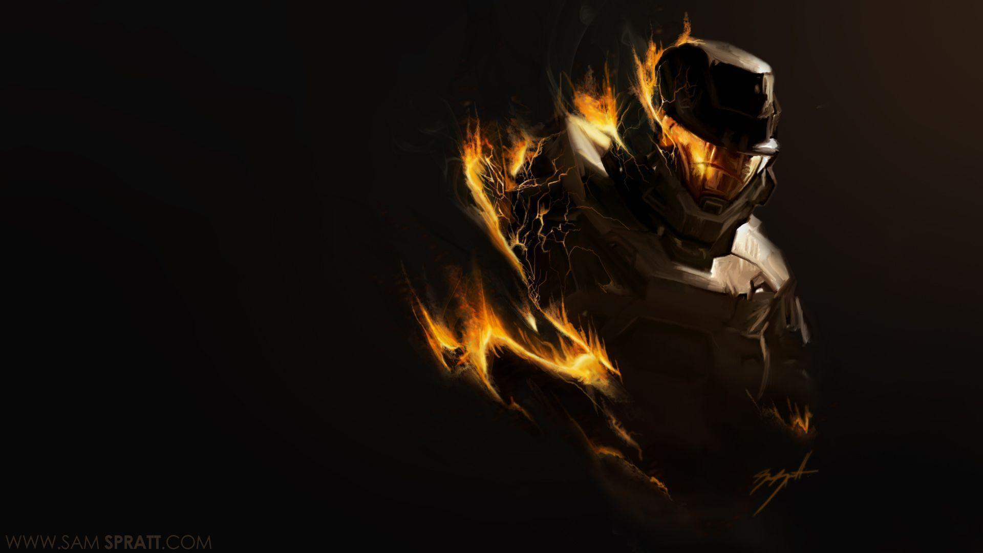 Cool Battlefield 4 Fire Armor In Black Background: Halo Reach Wallpapers 1080p