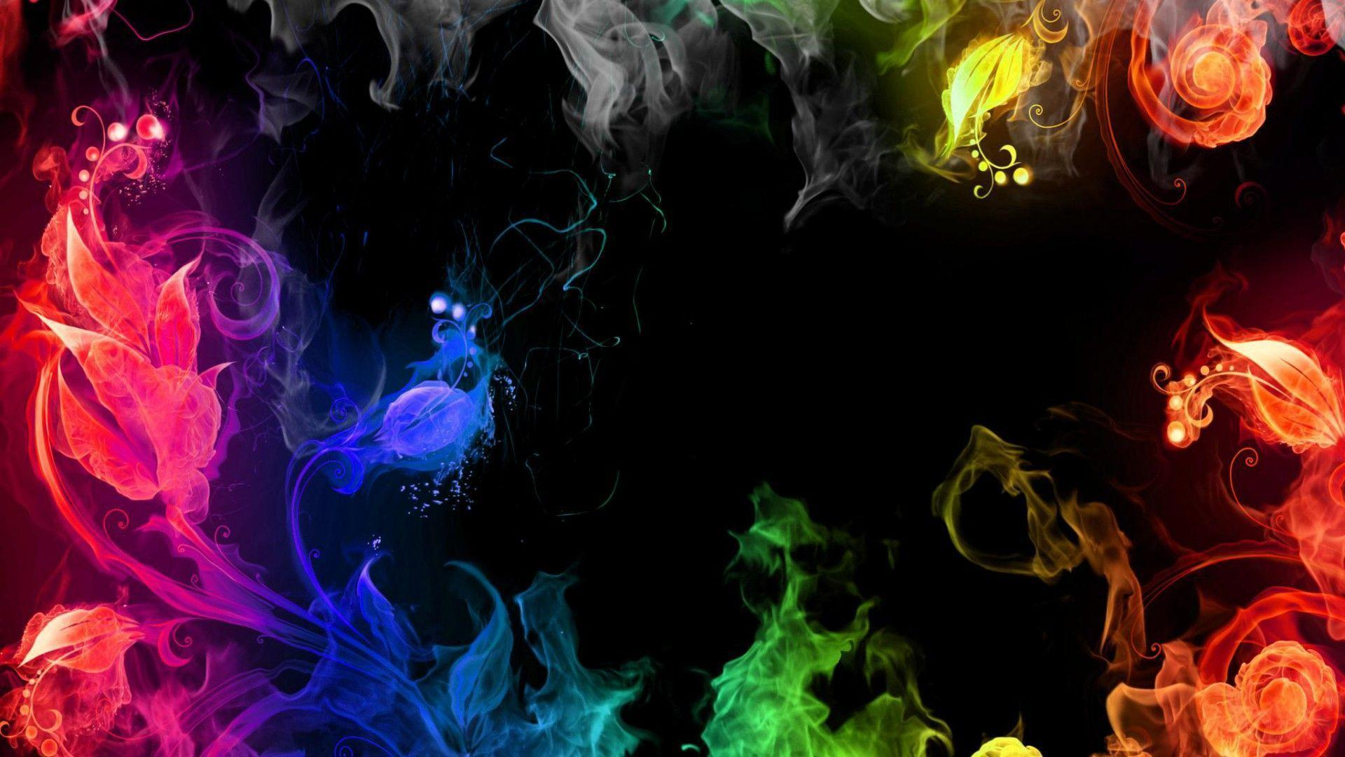 Dark Colorful 3D Desktop Background HD Wallpaper