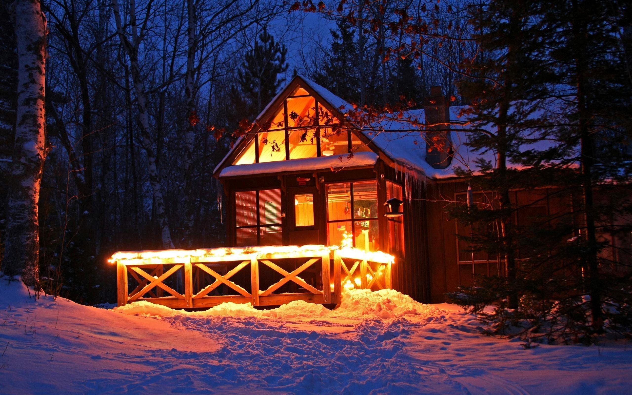 old cabin winter scene wallpaper - photo #19