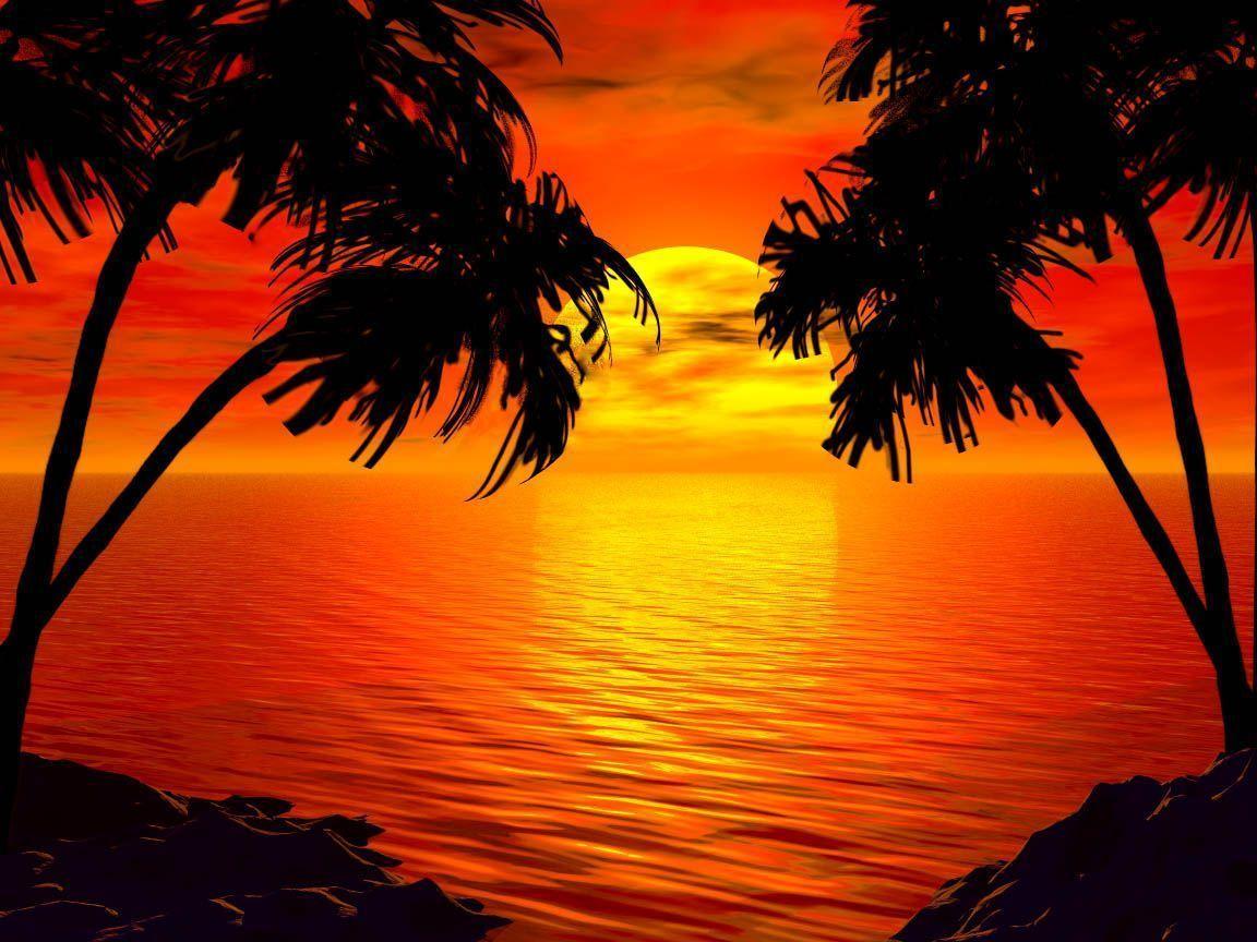 Tropical Island Sun: Tropical Island Sunset Wallpapers