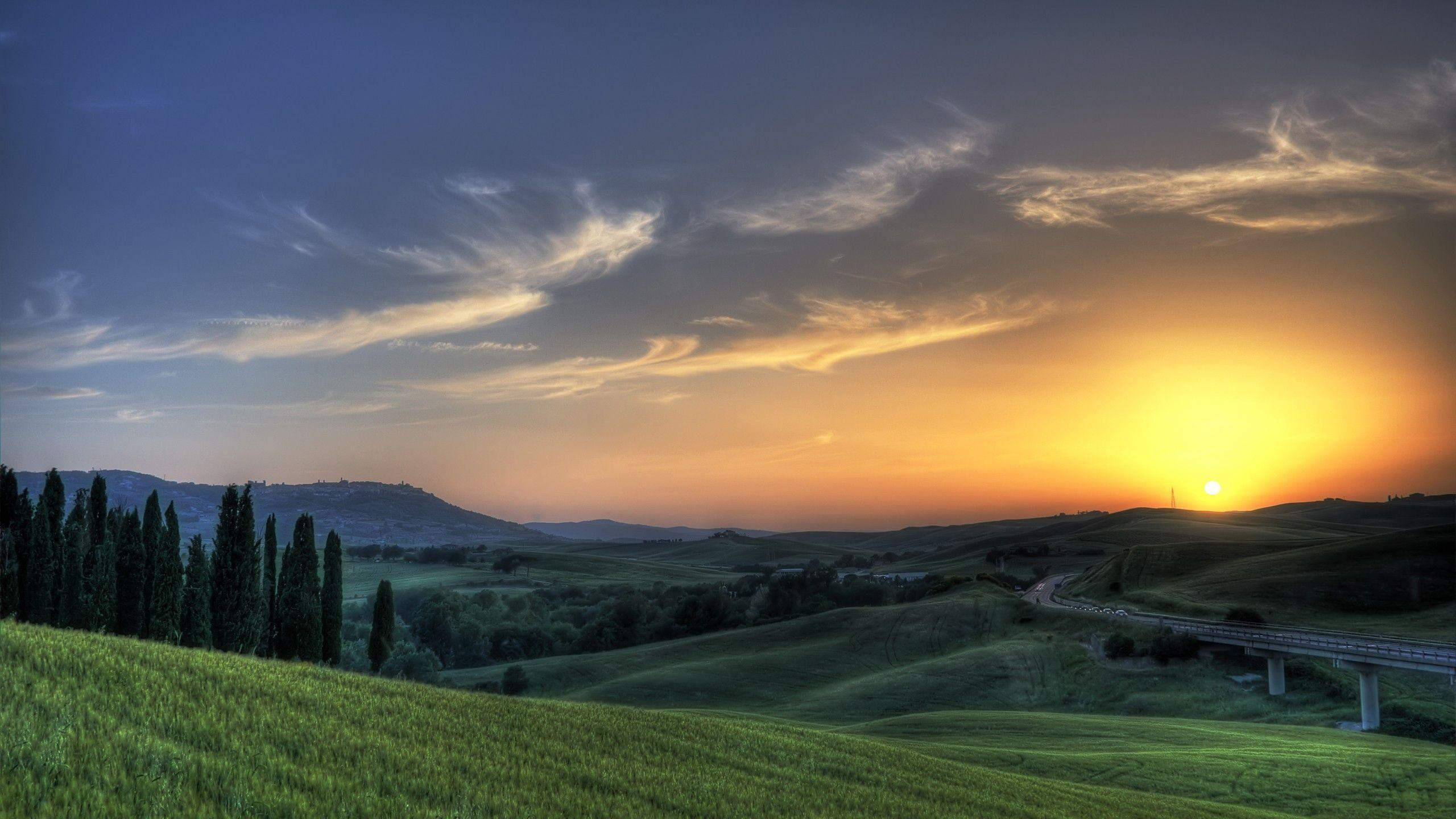 Download Wallpapers 2560x1440 sun, rising, meadows, fields, greens