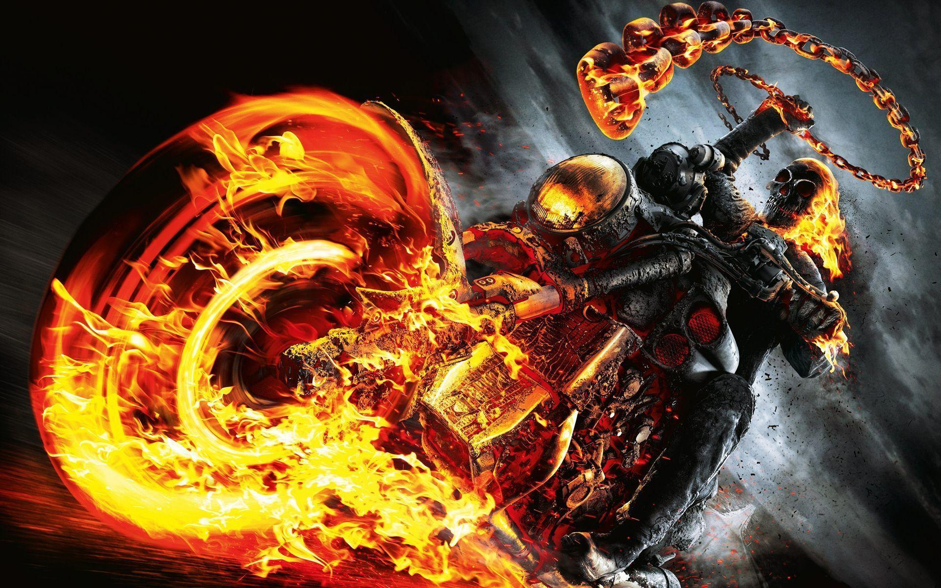 Ghost Rider Spirit Of Vengeance Skull Fire Bike Wallpapers .