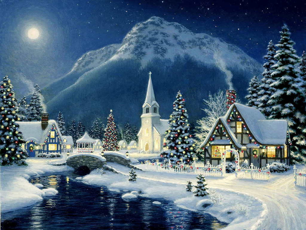 Christmas village wallpapers wallpaper cave for Screensaver natale 3d