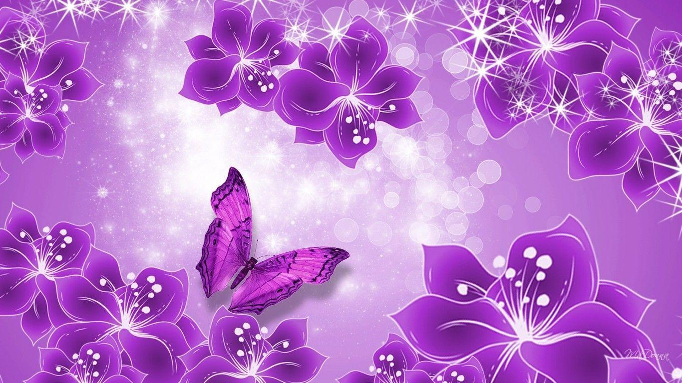 Purple Butterfly Hd Desktop Wallpaper