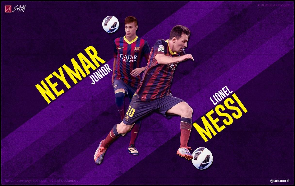 Neymar and Messi Barcelona football team wallpapers