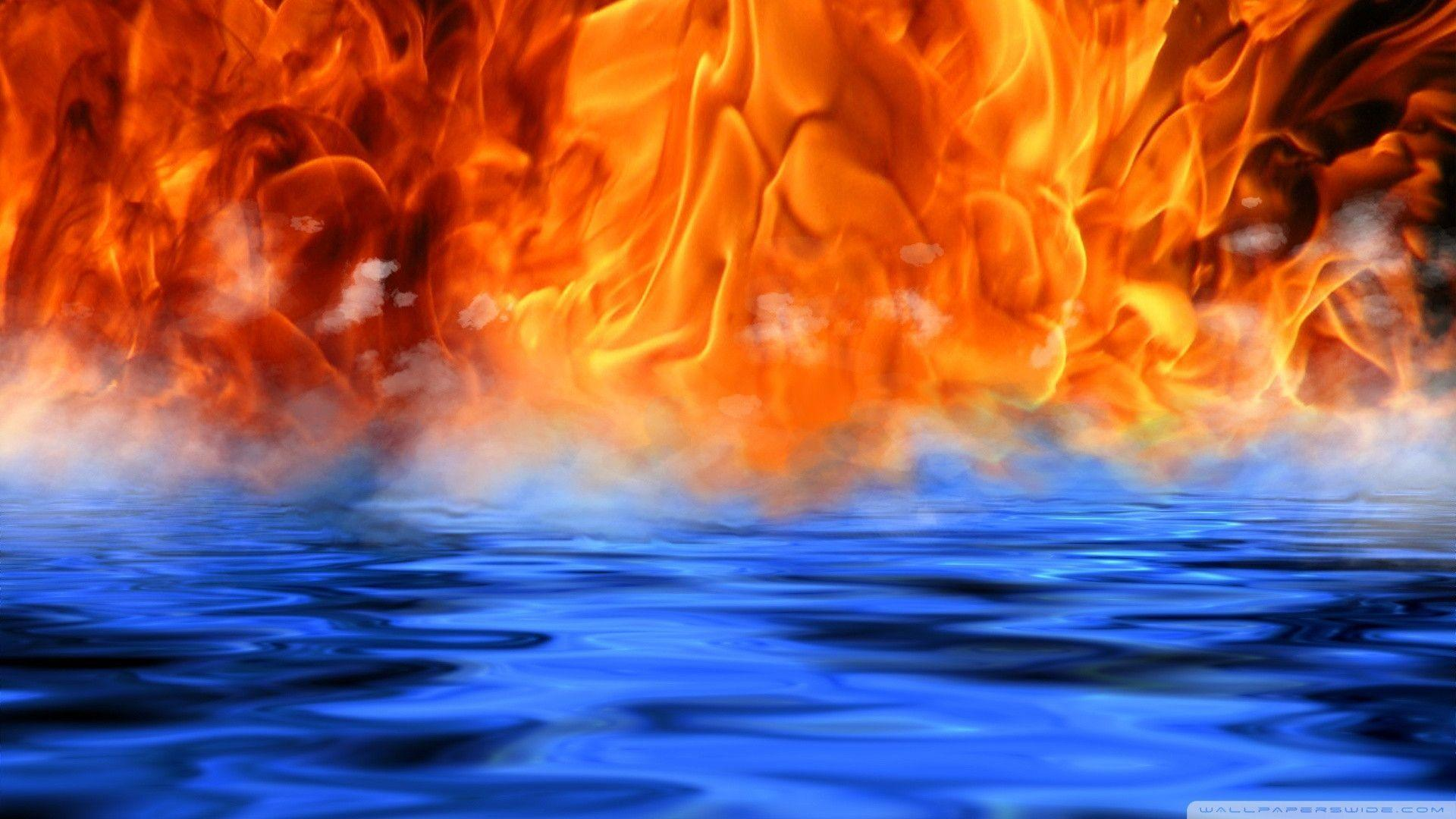 Cool Water And Fire Desktop HD Wallpaper