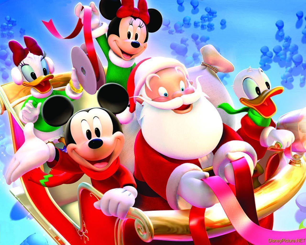 Wallpapers For > Disney Character Christmas Backgrounds