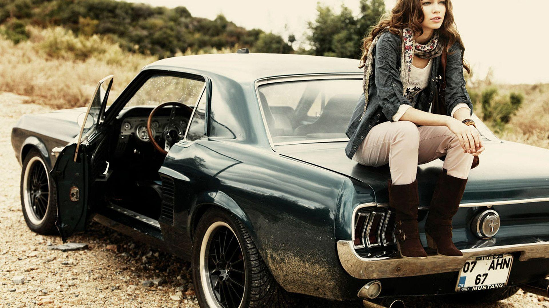 Girl sitting on ford mustang 1967 widescreen wallpaper wide