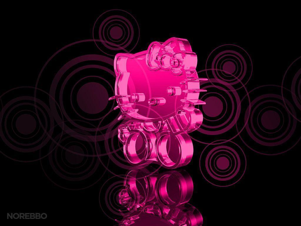 Black and pink hello kitty wallpapers wallpaper cave for Pink 3d wallpaper