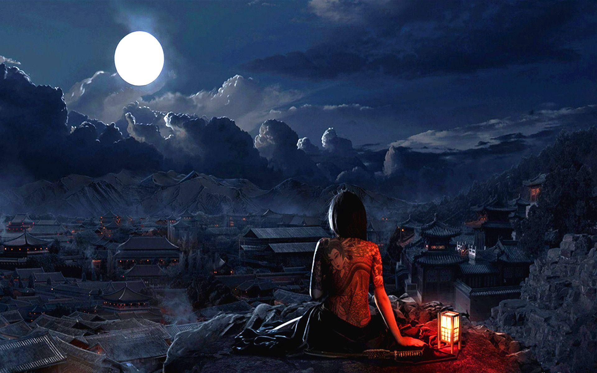 Girl With Tatto Full Moon Wallpaper #3828 Wallpaper | Wallshed.