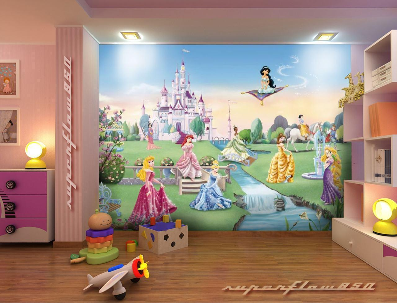 Disney castle backgrounds wallpaper cave for Child mural wallpaper