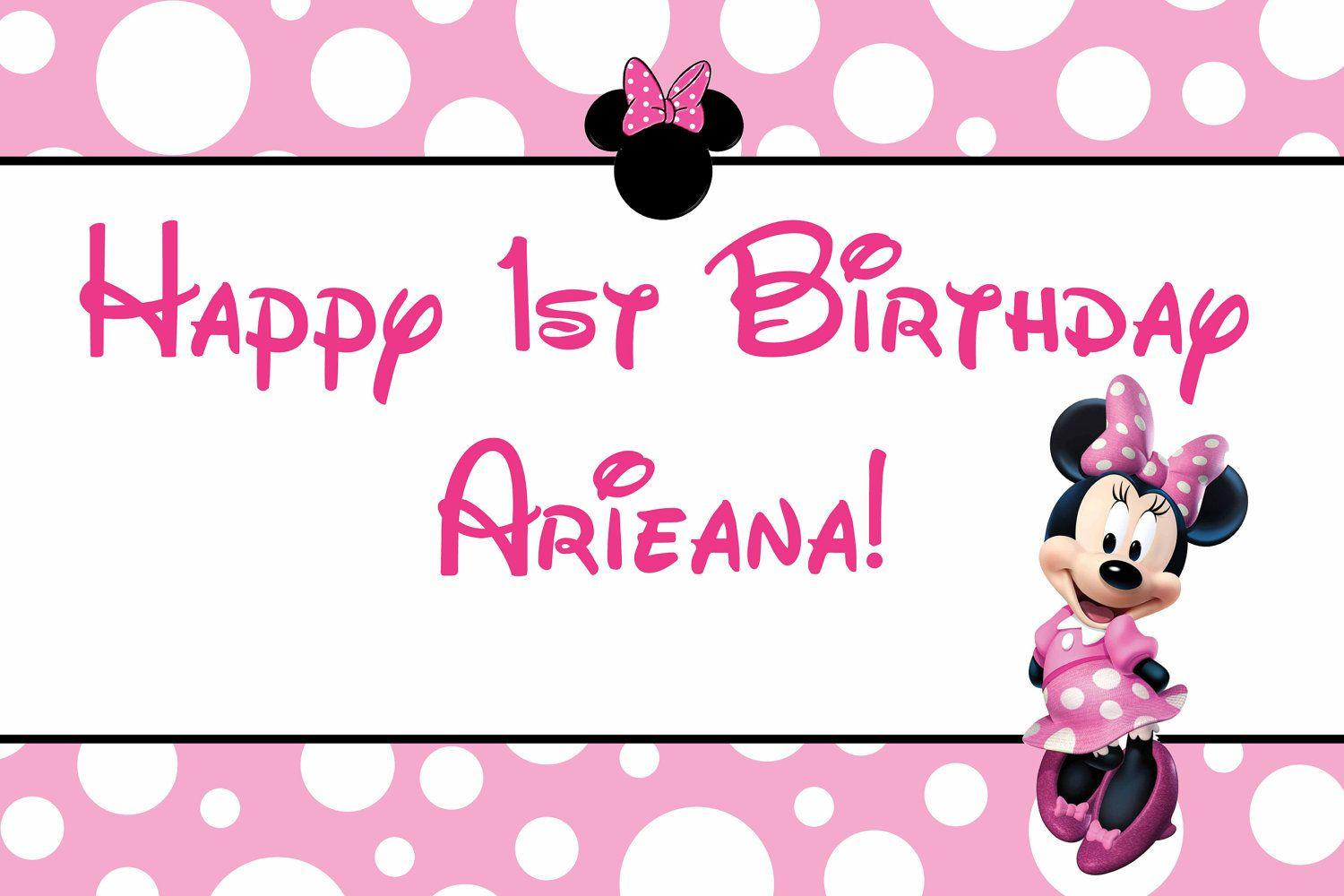Minnie Mouse Birthday Banner Free Wallpaper Download | woliper.