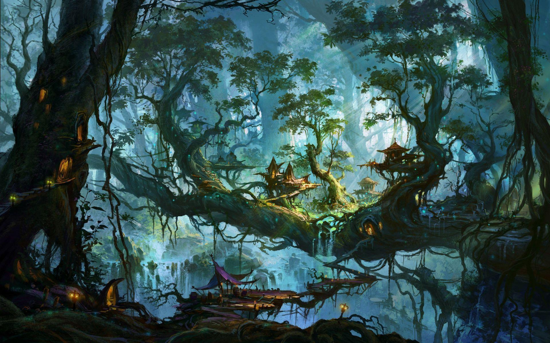 Enchanted village on the forest trees Wallpapers
