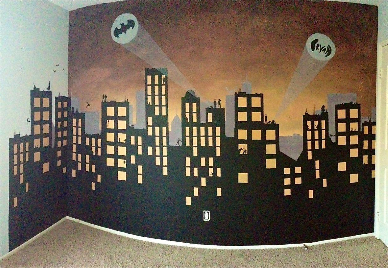 Gotham city backgrounds wallpaper cave for Batman bedroom wall mural
