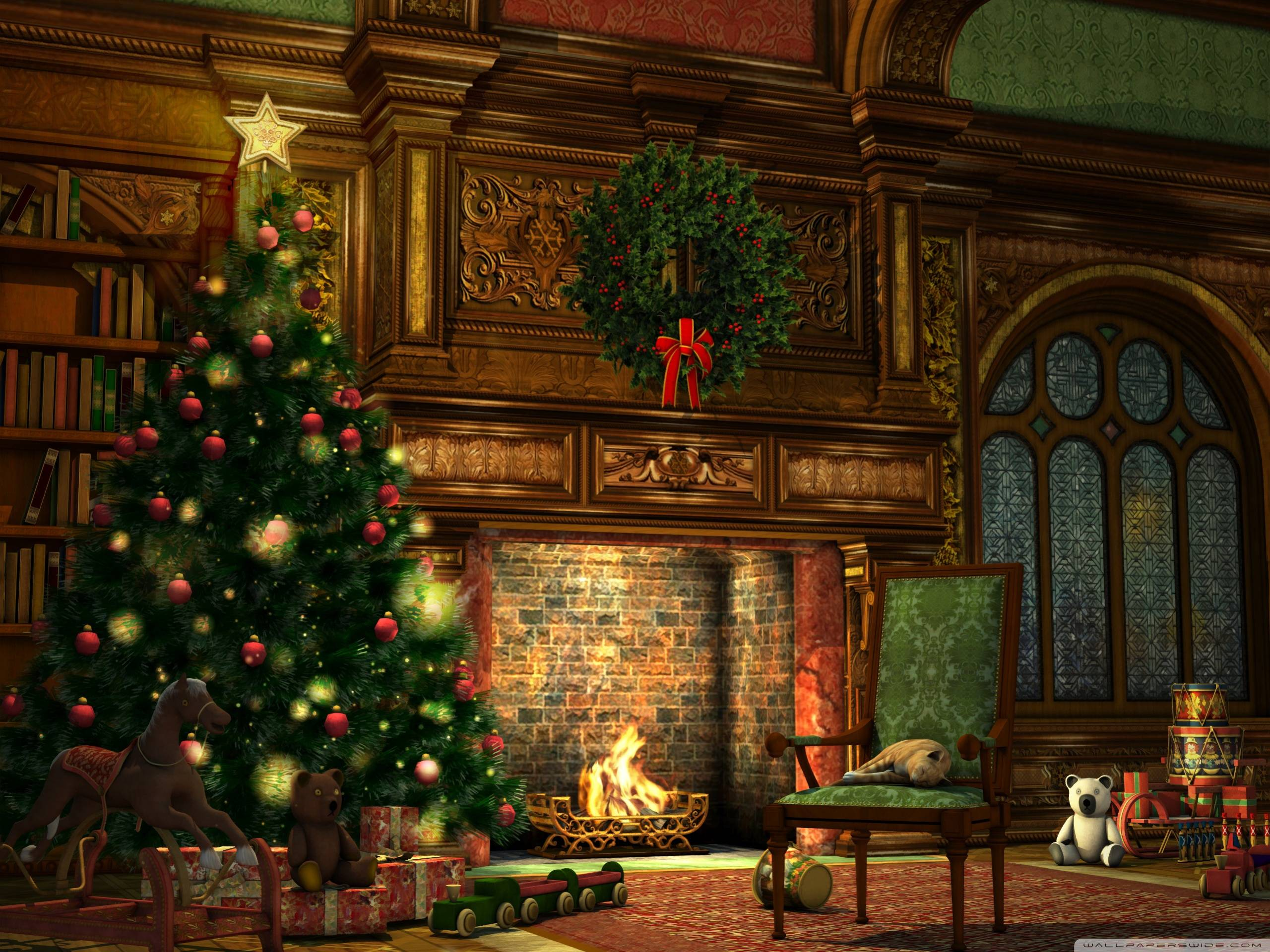 Image For > Christmas Tree And Fireplace Backgrounds