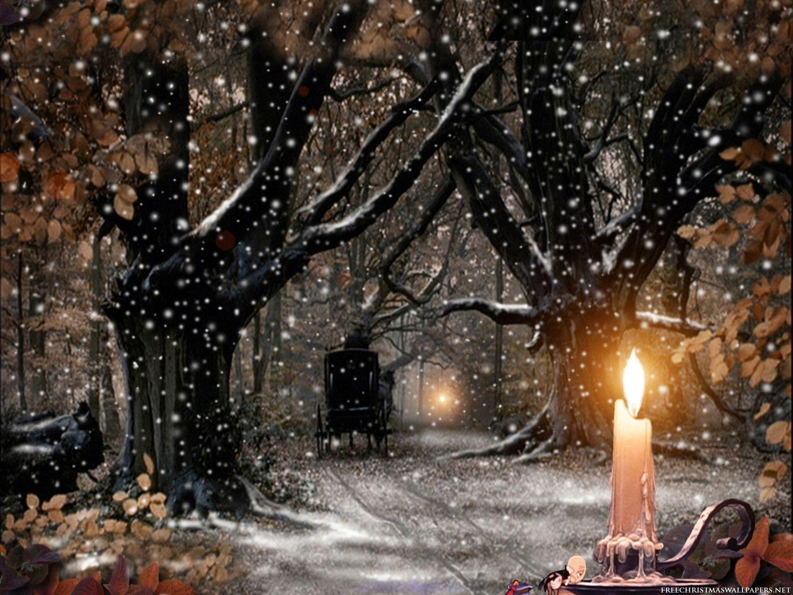 Xmas Snow Nature Candle Wallpaper