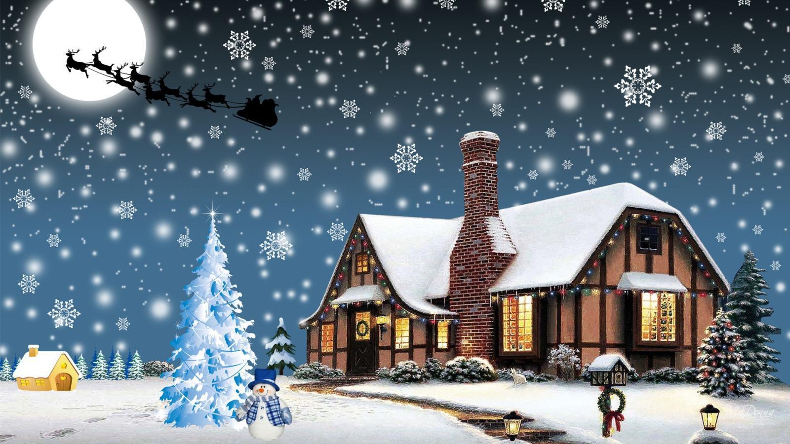 Christmas village backgrounds wallpaper cave for Sfondi natale 3d