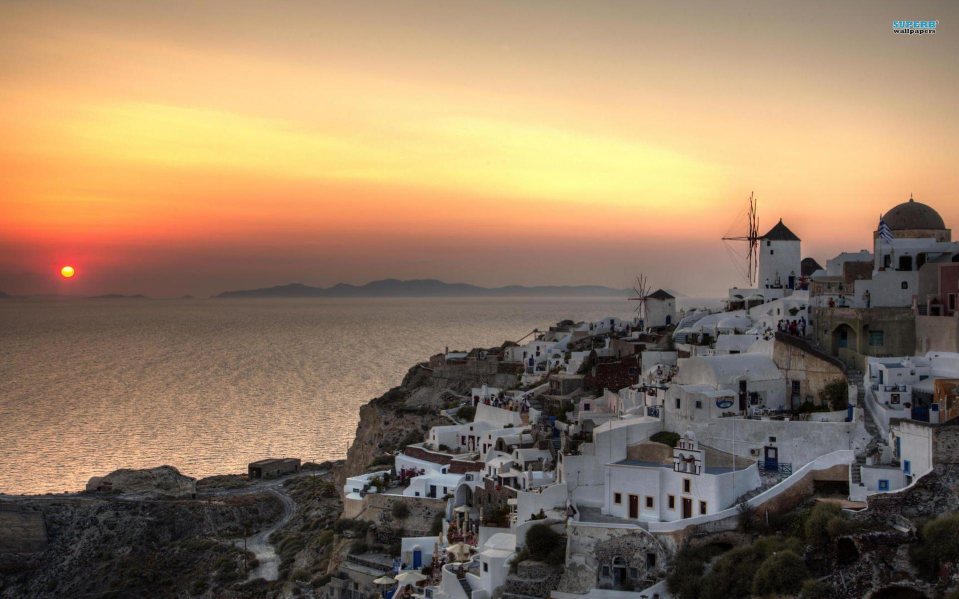 HD Santorini Sunset Wallpapers